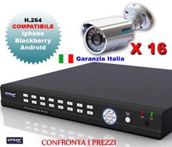 Kit Videosorveglianza 16 canali per interno ed esterno con DVR e telecamere 600 TVL