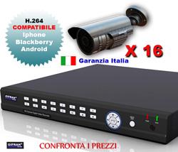 Kit videosorveglianza 16 canali + DVR 16 canali H.264 e 16 telecamere 700 TVL