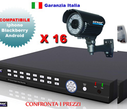 Kit Videosorveglianza 16 canali, DVR h.264 e 16 telecamere Sony HR 700 TVL