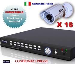 Kit videosorveglianza 16 canali + DVR real-time e 16 telecamere CCD Sharp