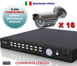 Kit videosorveglianza 16 canali + 16 telecamere CCD 420 TVL e DVR 16 canali