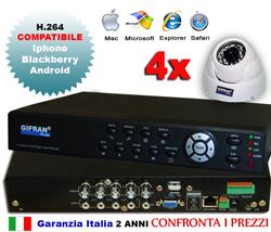 Kit videosorveglianza 4 canali con DVR e 4 telecamere DOME 3.6mm