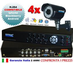 Kit Videosorveglianza 4 canali con DVR real-time h.264 e 4 telecamera 700 TVL
