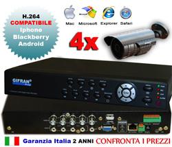 Kit videosorveglianza 4 canali, DVR 4 canali real-time, 4 telecamere 700 TVL