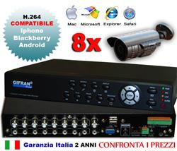 Kit Videosorveglianza 8 canali, DVR h.264 8 canali e 8 telecamere Sony HR 700 TVL