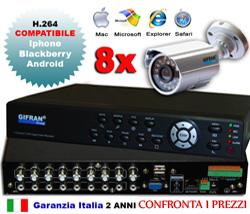 Kit videosorveglianza 8 canali + DVR 8 canali H.264 + 8 telecamere CCD 600 TVL