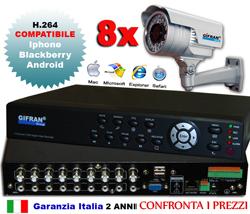 Kit videosorveglianza 8 telecamere con DVR 8 canali + 8 telecamere CCD Sony 700 TVL