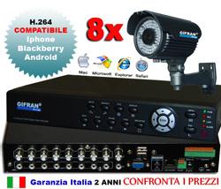 Kit videosorveglianza 8 canali da esterno con DVR e 8 telecamere CCD 72 led iR