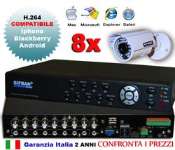 Kit Videosorveglianza 8 canali, 8 telecamere CCD 24 led + DVR H.264