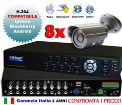 Kit Videosorveglianza con DVR 8 canali e 8 telecamere CCD 3.6mm