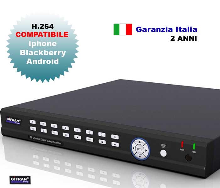 DVR 16 canali, videoregistratore digitale H.264 con 16 ingressi per le Telecamere